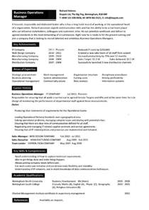 Resume For Business Operations Manager by Business Operations Manager Resume Exles Cv Templates Sles