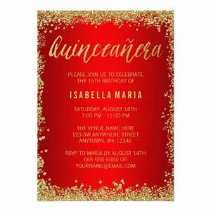 Example Of Birthday Invitation Red Gold Faux Glitter Quinceanera 15th Birthday Invitation