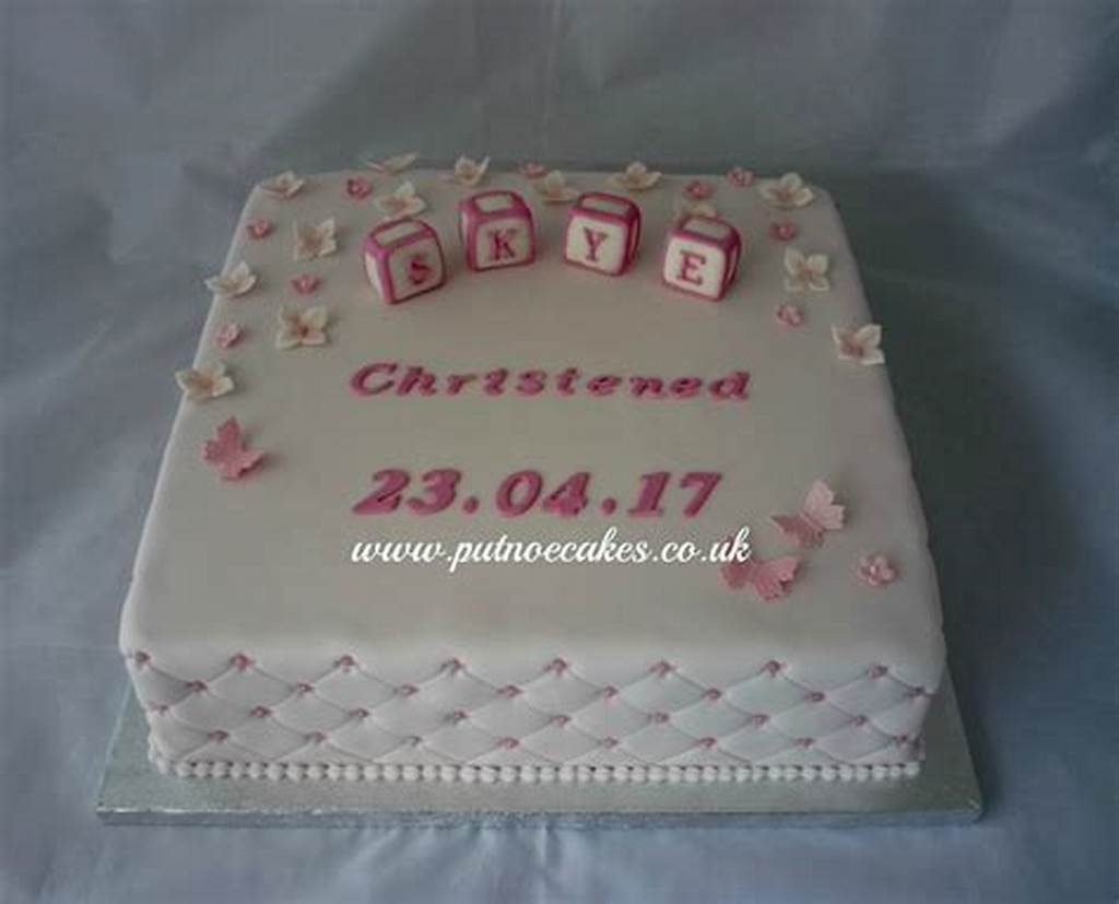 #Square #Pink #Girl'S #Christening #Cake #Baby #Building #Blocks