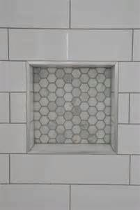 Backsplash Glass Tile Edging by Shower Design With Subway Tile And Marble Tile Niche