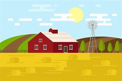 Farm Cartoon Background Graphics Creative Isometry Flat