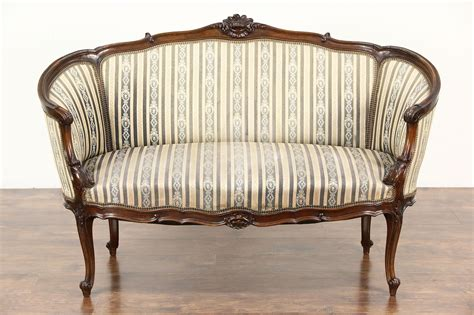 Vintage Settee Loveseat by Sold Louis Xiv Carved Walnut 1920 Antique