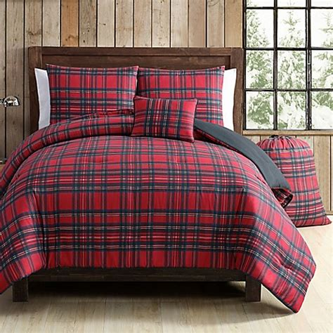 vcny tartan plaid comforter set  redgreen bed bath