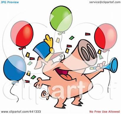 Celebrating Cartoon Clip Pig Celebration Clipart Royalty
