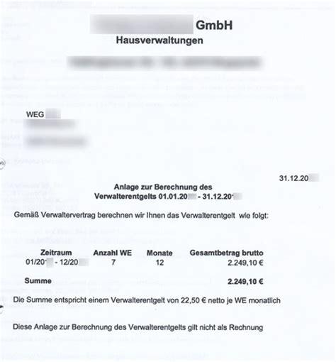 Eigentuemergemeinschaft Immobilienverwalter Finden by Weg Hausverwalter Stellt Selten Honorar Rechnungen Aus