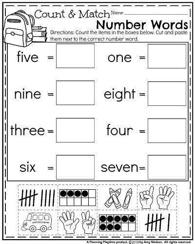 preschool number words worksheet schematic  wiring