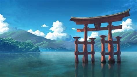 anime landscape shrine lake torii