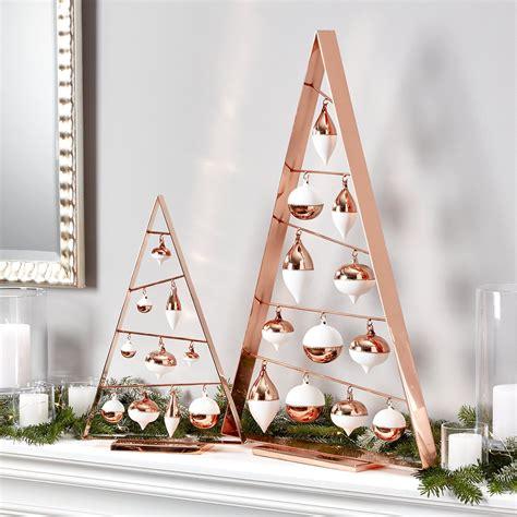 frame copper ornament trees crate  barrel copper christmas decor copper christmas