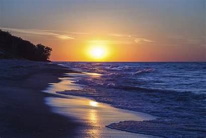 Michigan Lake Sunset Beach Indiana Background Sun