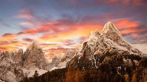 Nature, Landscape, Sunset, Mountain, Snowy, Peak, Sky