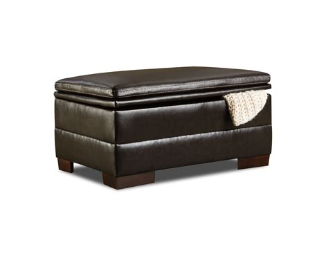 simmons faux leather ottoman bingo brown