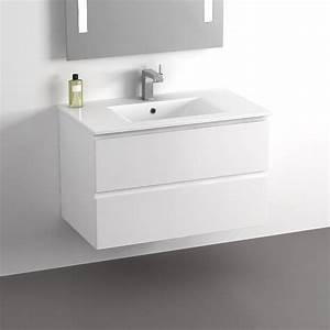 Meuble 80 Cm : meuble vasque 80 cm blanc 2 tiroirs plan c ramique cardo ~ Teatrodelosmanantiales.com Idées de Décoration
