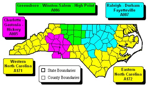 north carolina state regional zip code wall maps
