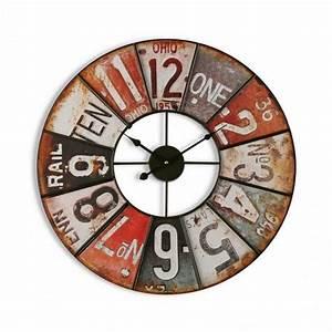 Horloge Murale Industrielle : horloge murale ronde vintage industrielle metal versa ohio ~ Teatrodelosmanantiales.com Idées de Décoration