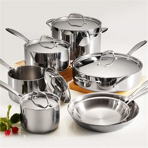 cookware tramontina sets stainless steel clad tri ply gourmet piece pc collection kitchenaid kitchen polished beyond bath bed aluminum kohls