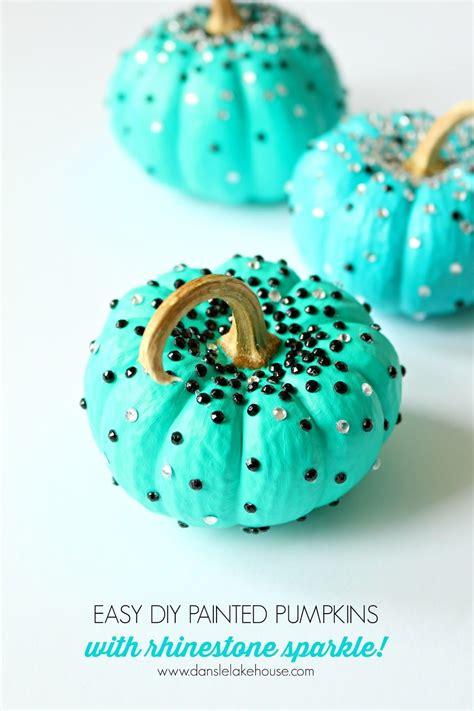 turquoise diy  carve pumpkins  black  white rhinestone sparkles fall decor  fall