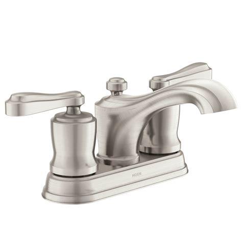 Bathroom Sink Faucets Moen by Shop Moen Belhurst Spot Resist Brushed Nickel 2 Handle 4
