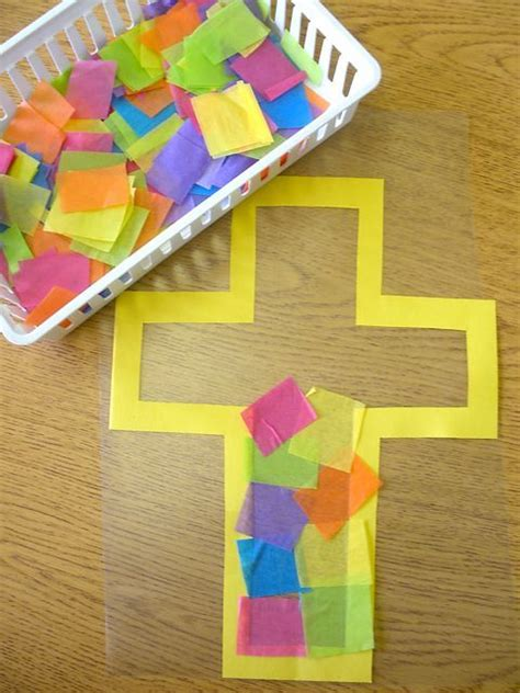 """""""stained Glass"""" Cross Made From Tissue Paper And Clear"""
