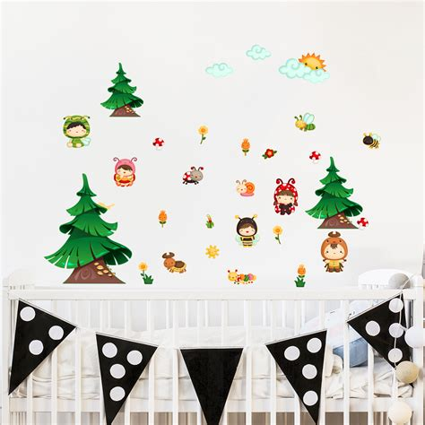 sticker mural enfant sticker les enfants dans la for 234 t stickers nature arbres