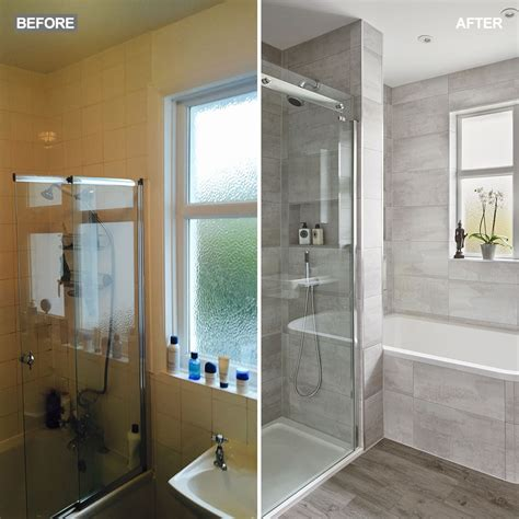 Bathroom Layout With Separate Toilet by Modern Grey Bathroom Makeover With Separate Shower And Bath