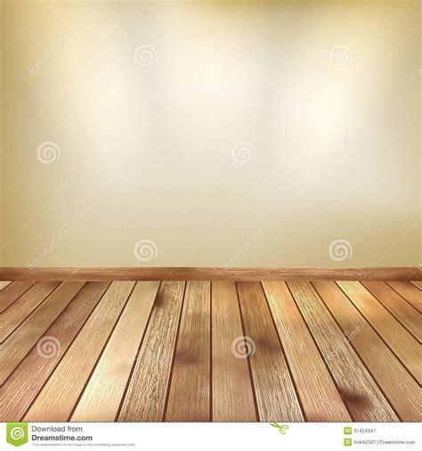 Beige Wall With Spot Lights Wooden Floor. EPS 10 Stock