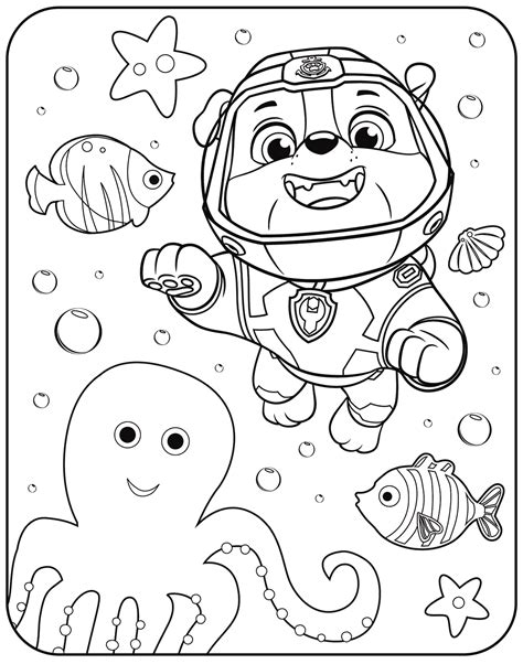 Rubble Paw Patrol Coloring Page (With images) Paw patrol