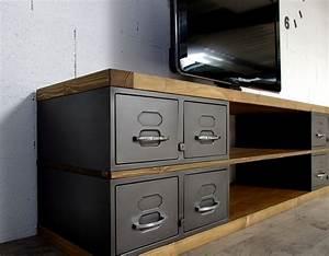 industriel meuble tv metal et bois tiroirs With meuble salle de bain la boite a outils
