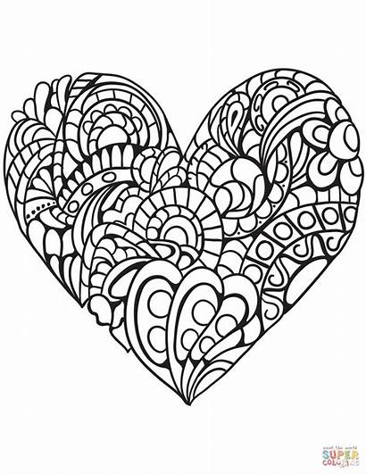 Coloring Heart Pages Double Printable Colorings