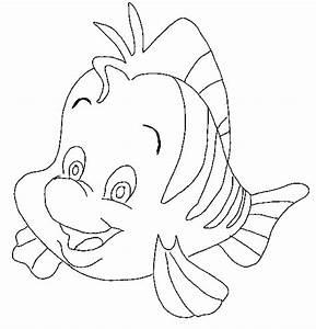 Litle Mermaid Flounder Fish Animal Coloring