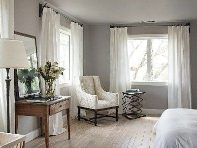 gray with white curtains home