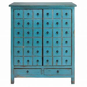 Cabinet Maison Du Monde : antique blue pine 2 door 2 drawer cabinet baho maisons du monde ~ Teatrodelosmanantiales.com Idées de Décoration