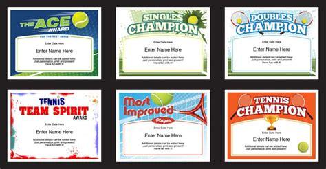 tennis certificates templates tennis awards participation