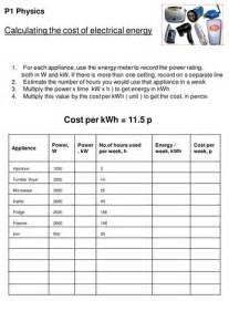 cost  electricity worksheet gcse physics