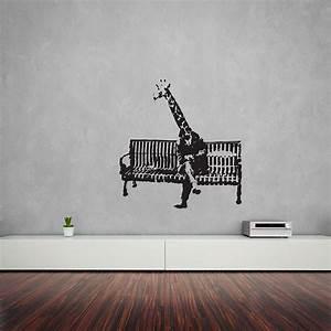 banksy giraffe on bench vinyl wall art decal by vinyl With banksy wall art