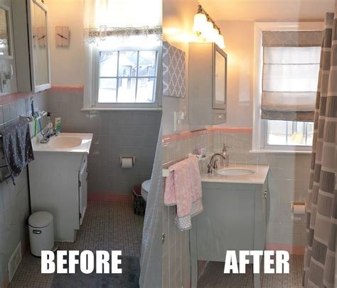 pin  adrienne marie  pink  grey bathroom makeover
