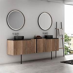 Meuble Salle De Bain Noir Et Bois : meubles de salle de bain urbain industriel bois m tal atlantic bain ~ Teatrodelosmanantiales.com Idées de Décoration