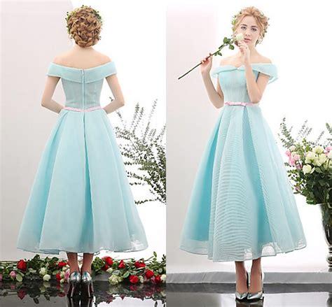 light blue tea length dress light sky blue off shoulder prom dress tea length with boe