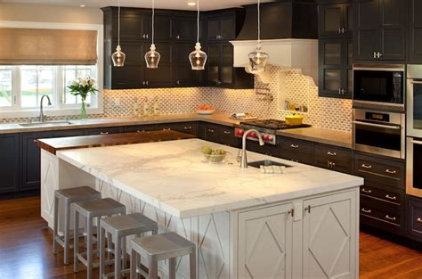 cuisiner light black perimeter cabinets and white kitchen island