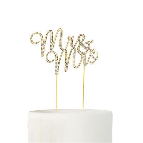 Crystal Rhinestone Mr And Mrs Cake Topper Gold The Knot Shop