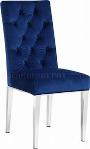 Juno Dining Chair 732 Set Of 2 In Navy Velvet Fabric By
