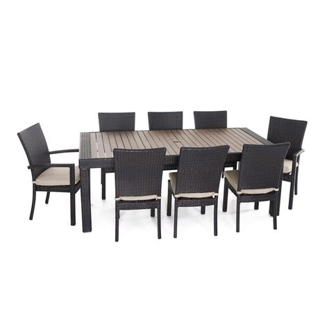 rst brands deco 9 patio dining set with slate grey