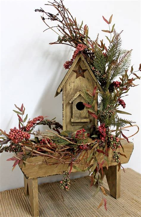birdhouse bench rustic floral decor country centerpiece