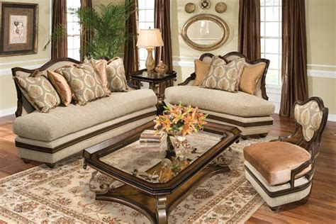 Benetti's Italia Romana Wood Trim Sofa Set