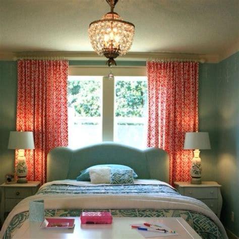 teal  coral love  curtains  bedroom