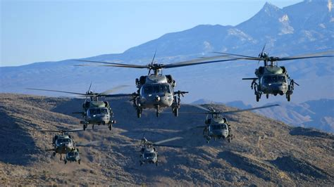 U.s. Deployed Uh-60 Black Hawk And Chinook Helicopter To