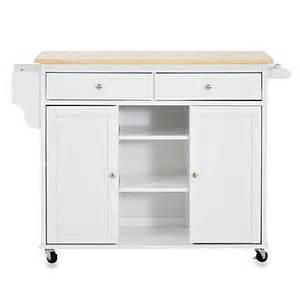 baxton studio meryland modern kitchen rolling island cart in white bedbathandbeyond - Meryland White Modern Kitchen Island Cart