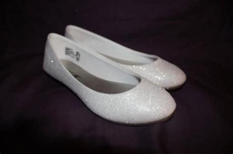 white glitter bridal shoes wedding flats true white