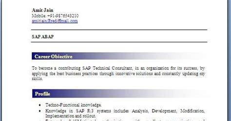 Abap Fresher Resume by Abap Fresher Resume Format
