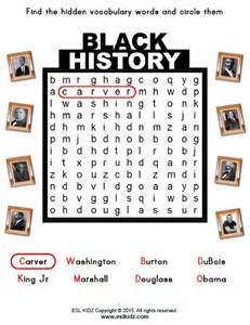 Black History Month Word Search Worksheets