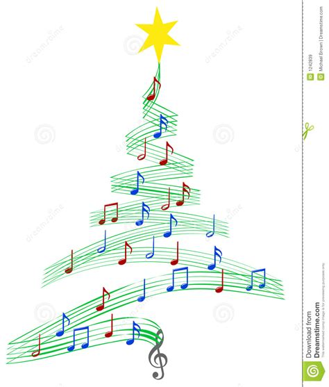 carol music christmas tree stock vector image of